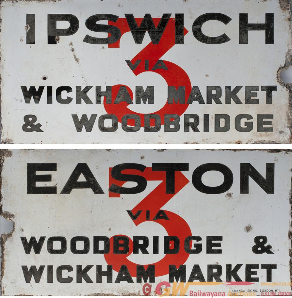 Bus Motoring Double Sided Enamel Sign, One Side