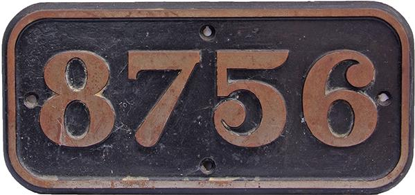 Cabside Numberplate 8756, C/I Construction. Ex GWR