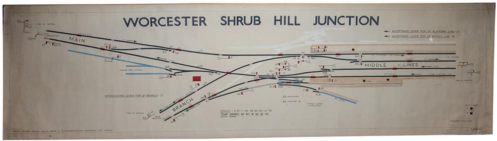 BR(W) Signal Box Diagram WORCESTER SHRUB HILL