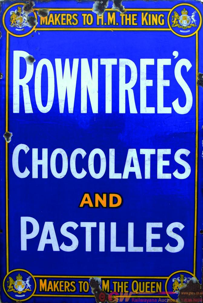 Enamel Advertising Sign Rowntrees Chocolates And
