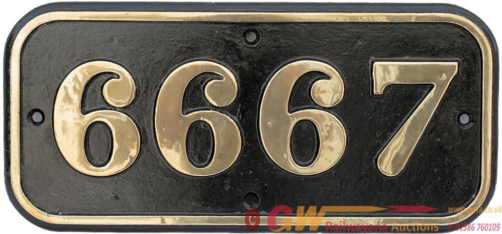 GWR Brass Cabside Numberplate 6667 Ex Collett