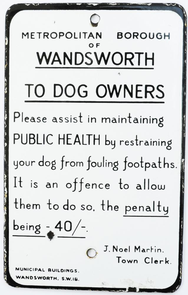 Enamel Sign 'Metropolitan Borough Of Wandsworth To