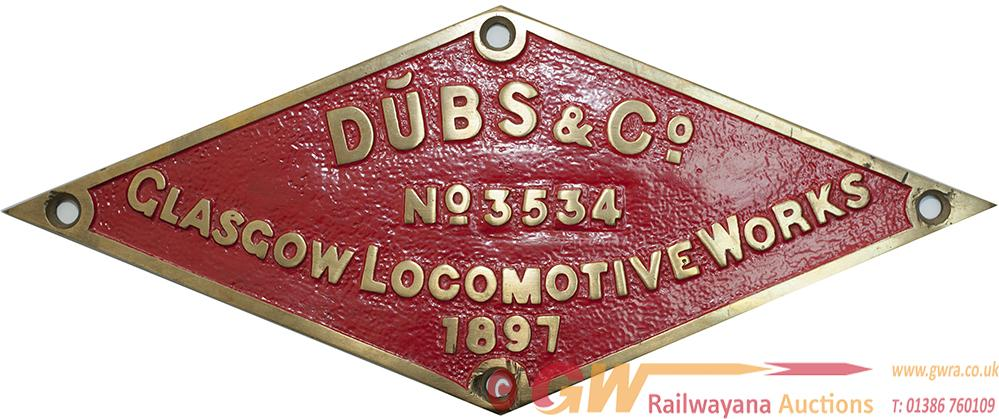 Worksplate DUBBS & CO GLASGOW LOCOMOTIVE WORKS No