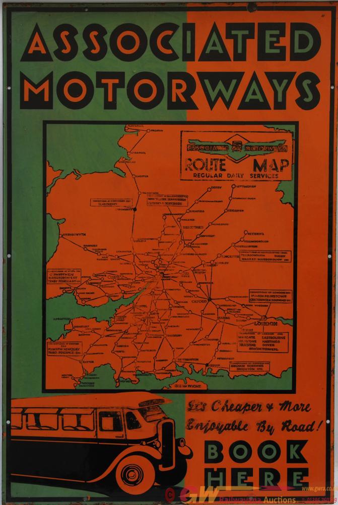 Enamel Advertising Sign 'Associated Motorways Book