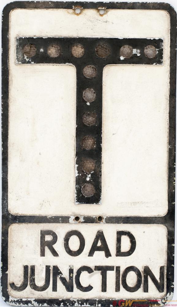 Road Motoring Sign ROAD JUNCTION (T). Cast