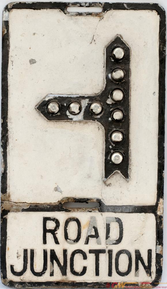 Road Motoring Sign ROAD JUNCTION. Cast Aluminium