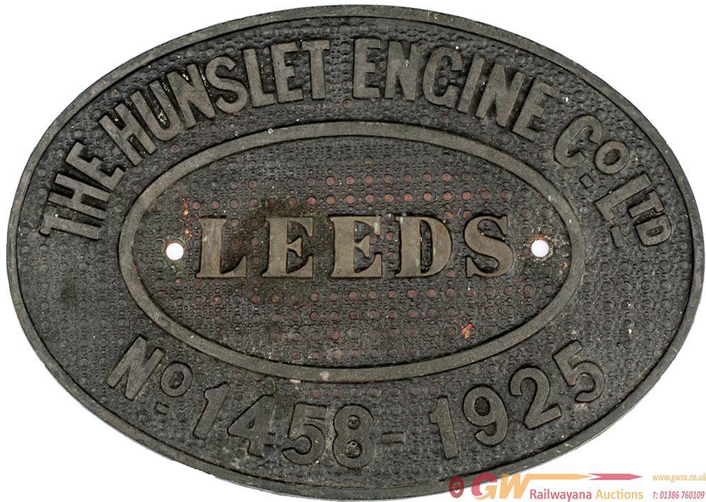 Worksplate THE HUNSLET ENGINE CO LEEDS No 1458