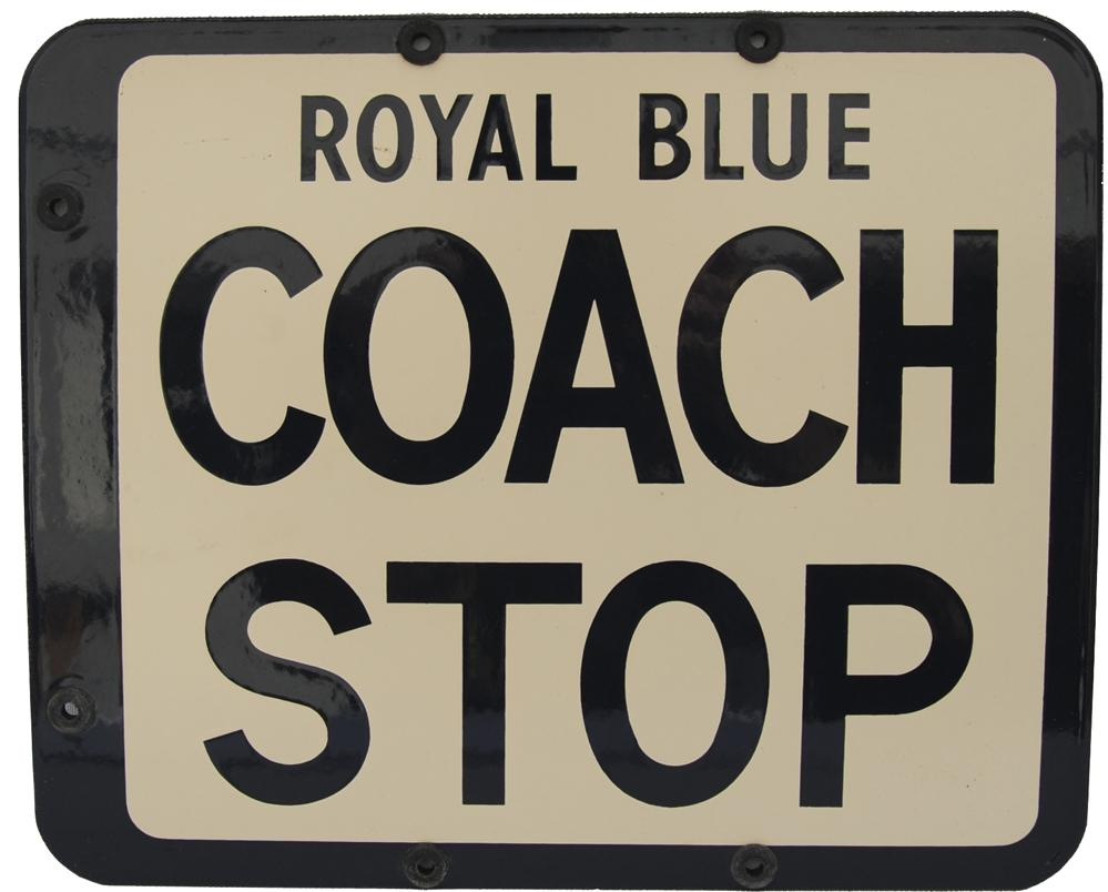 Enamel Coach Stop Sign, Double-Sided 12