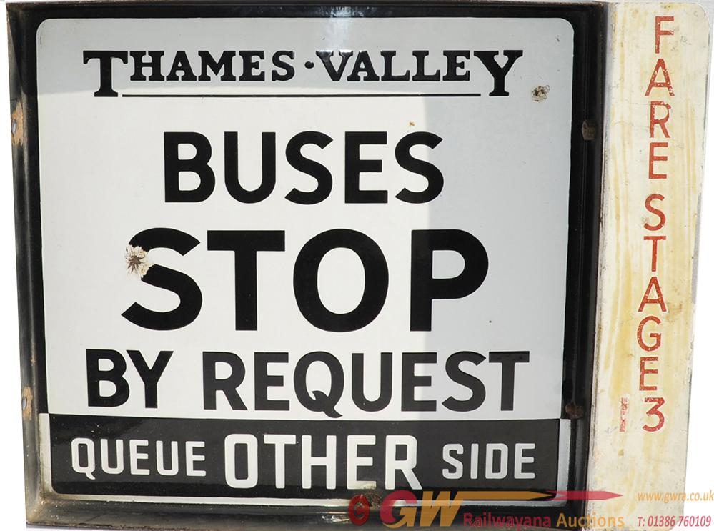Enamel Bus Sign Thames Valley Buses Stop By