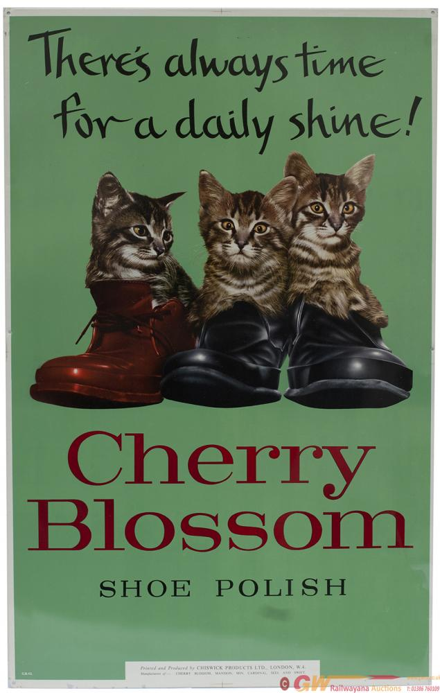 Advertising Sign CHERRY BLOSSOM SHOE POLISH THERES