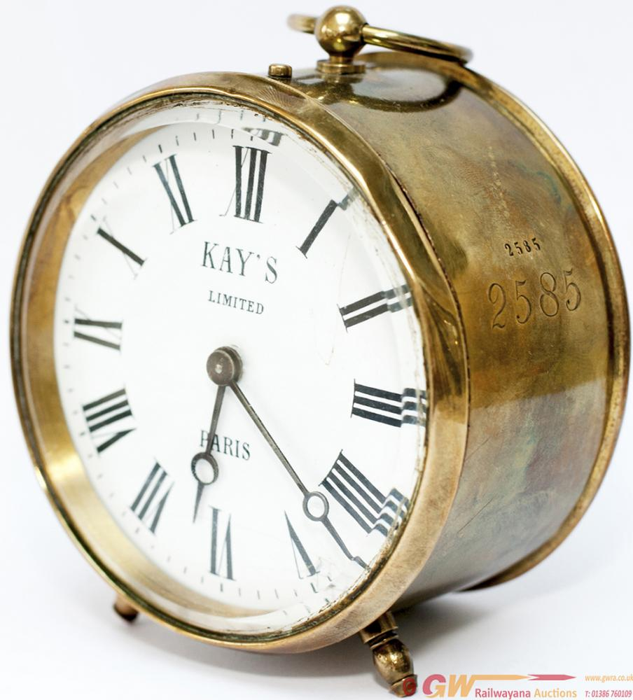 GWR Brass Drum Clock With Enamelled Dial KAY'S LTD