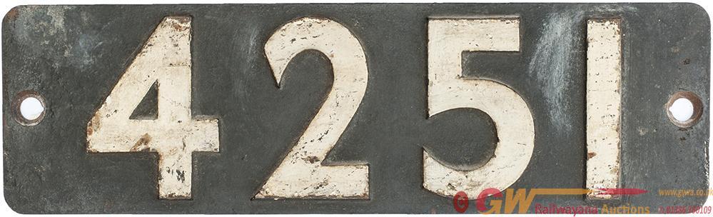 Smokebox Numberplate 4251 Ex GWR Churchward 2-8-0