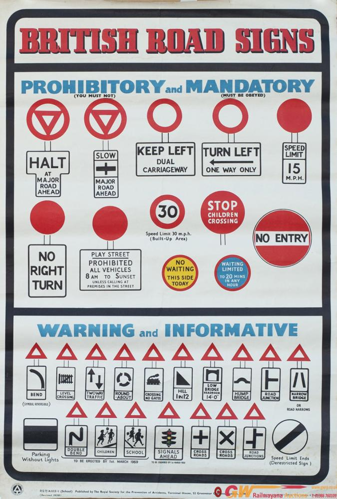 Poster BRITISH ROAD SIGNS Published By ROSPA In