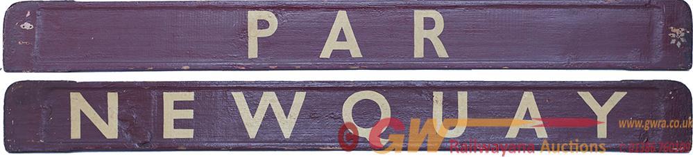 GWR/BR-W Wooden Carriage Board NEWQUAY - PAR