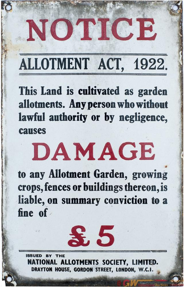 Enamel Sign NOTICE ALLOTMENT ACT 1922 Etc Issued