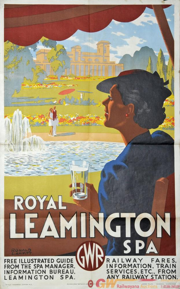 Poster GWR  'Leamington Spa' By Ronald Lampitt,