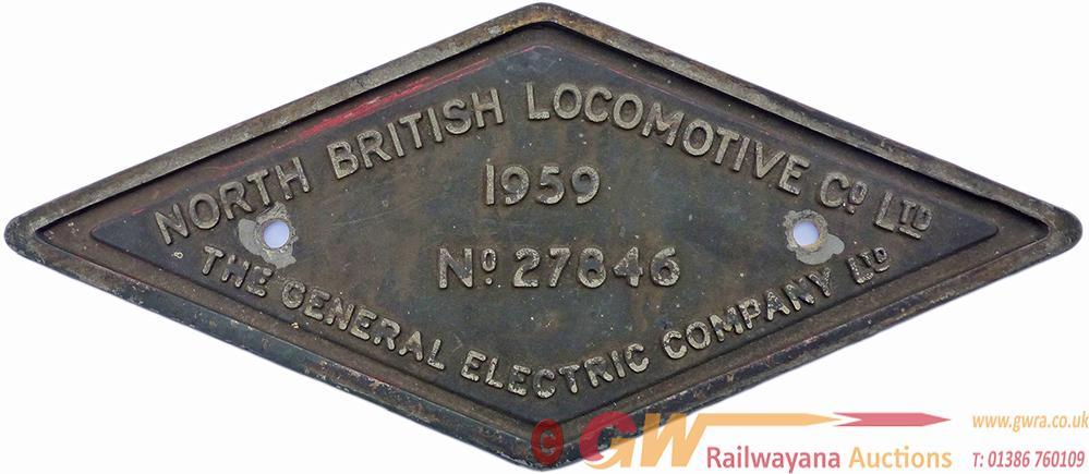 Diesel Worksplate NORTH BRITISH LOCOMOTIVE CO LTD