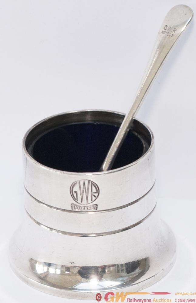 GWR Hotels Silverplate Salt Pot With Blue Glass