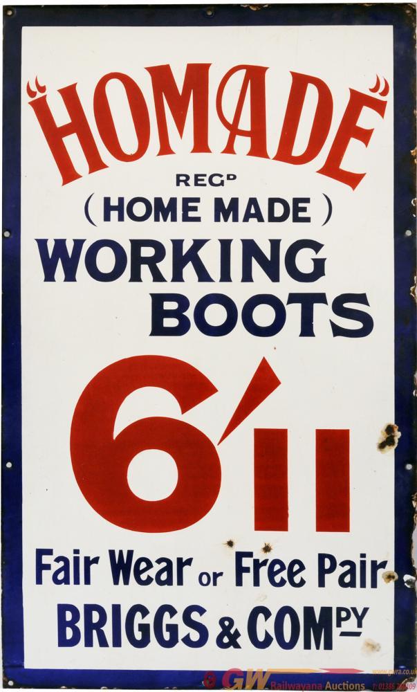 Advertising Enamel Homemade Working Boots Fair