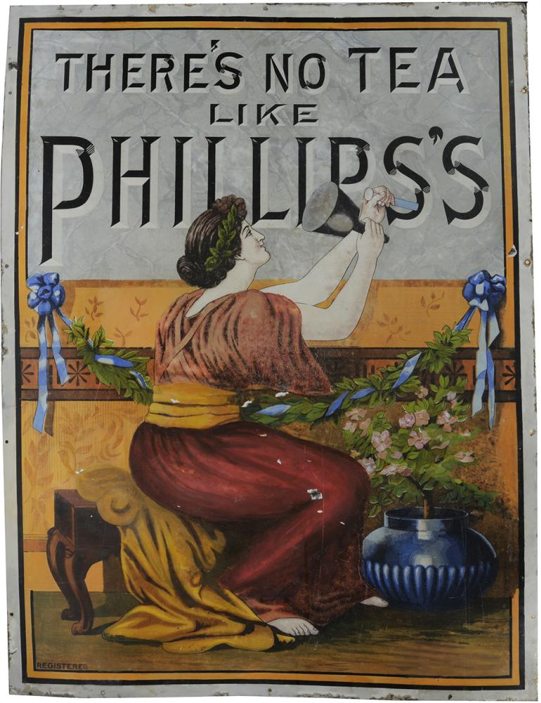 Pictorial Advertising Enamel Sign There's No Tea