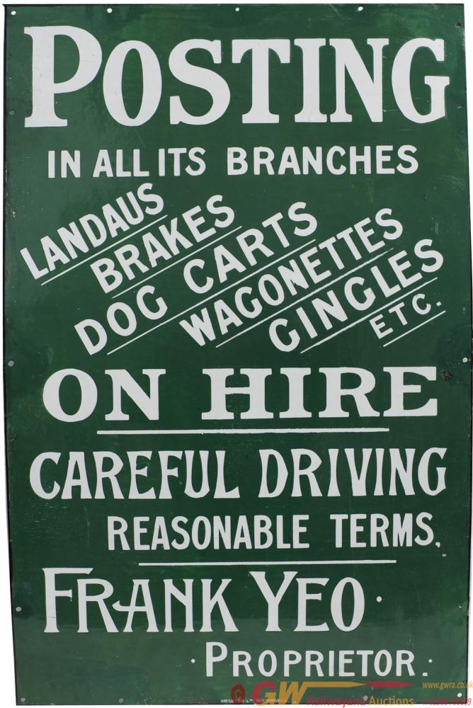 Advertising Enamel Sign 'Posting In All Its