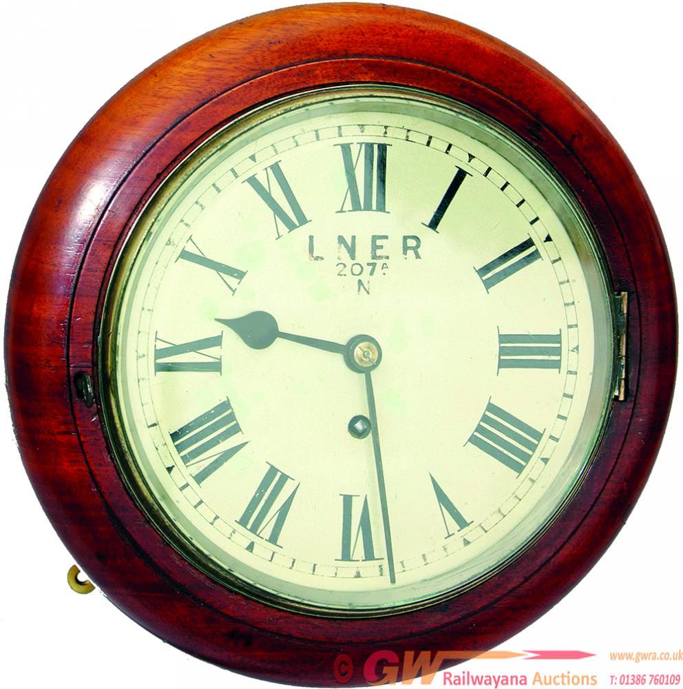 GNR 8 Inch Mahogany Cased Fusee Clock LNER No 207
