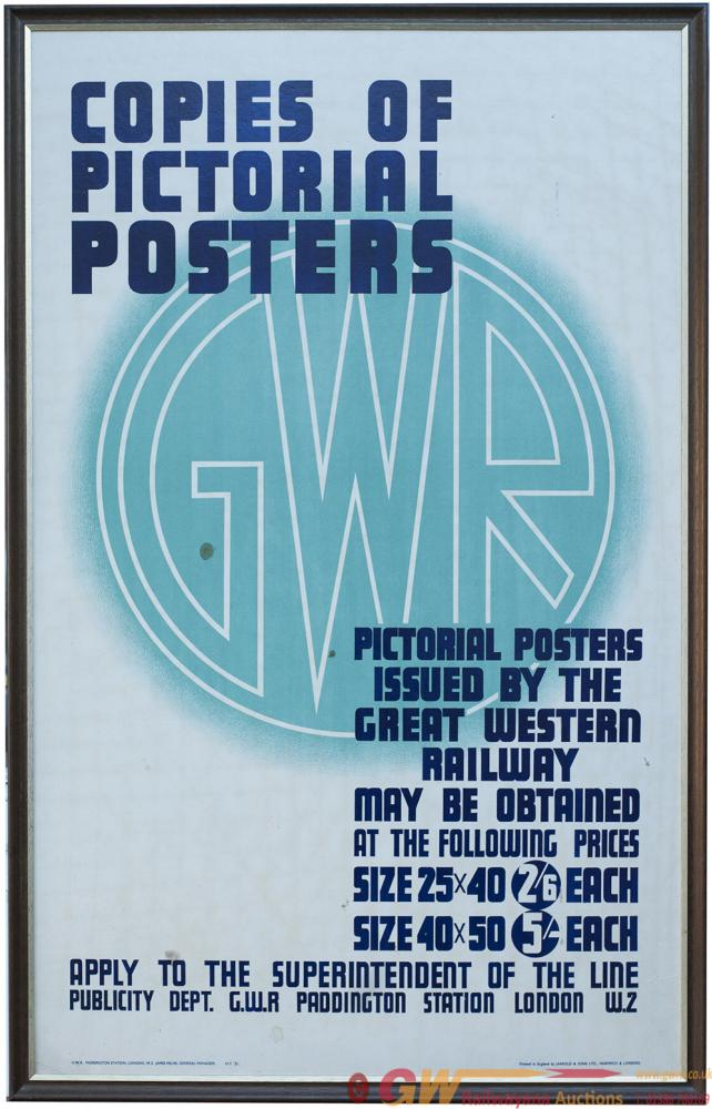 Poster GWR COPIES OF PICTORIAL POSTER ISSUED BY