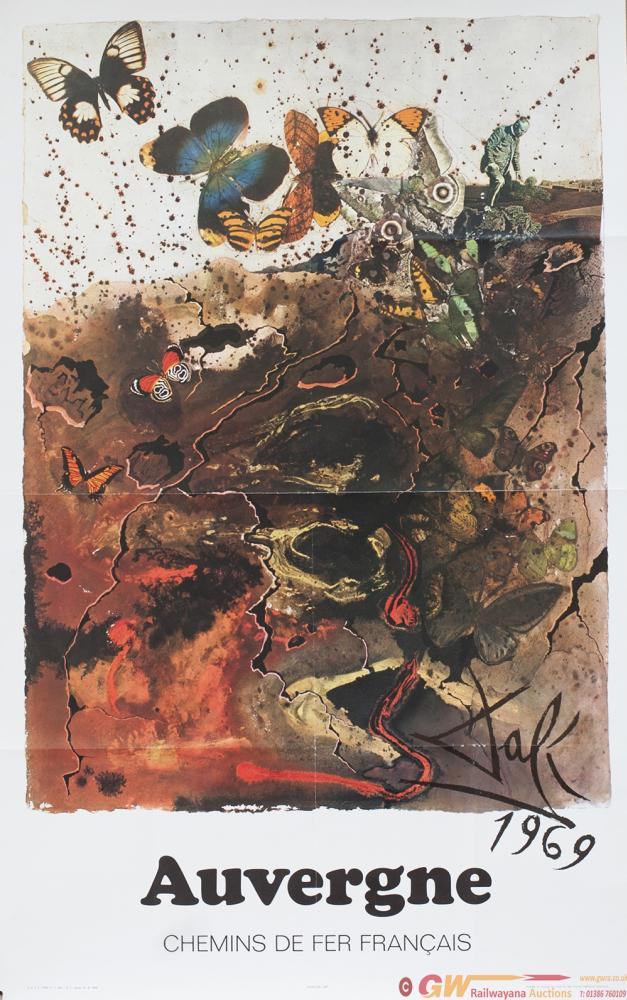 Poster SNCF AUVERGNE By Salvador Dali 1969, Dated