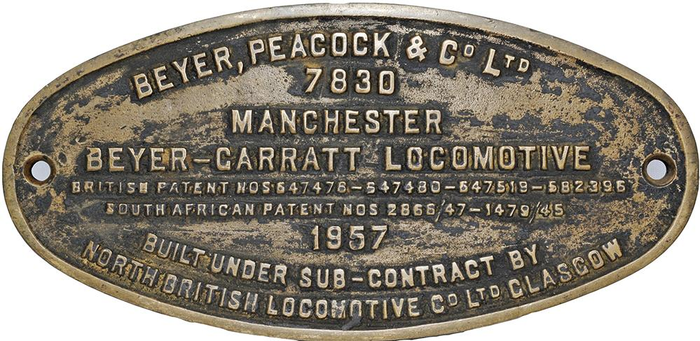 Worksplate Beyer Peacock & Co Ltd 7830 Dated 1957.