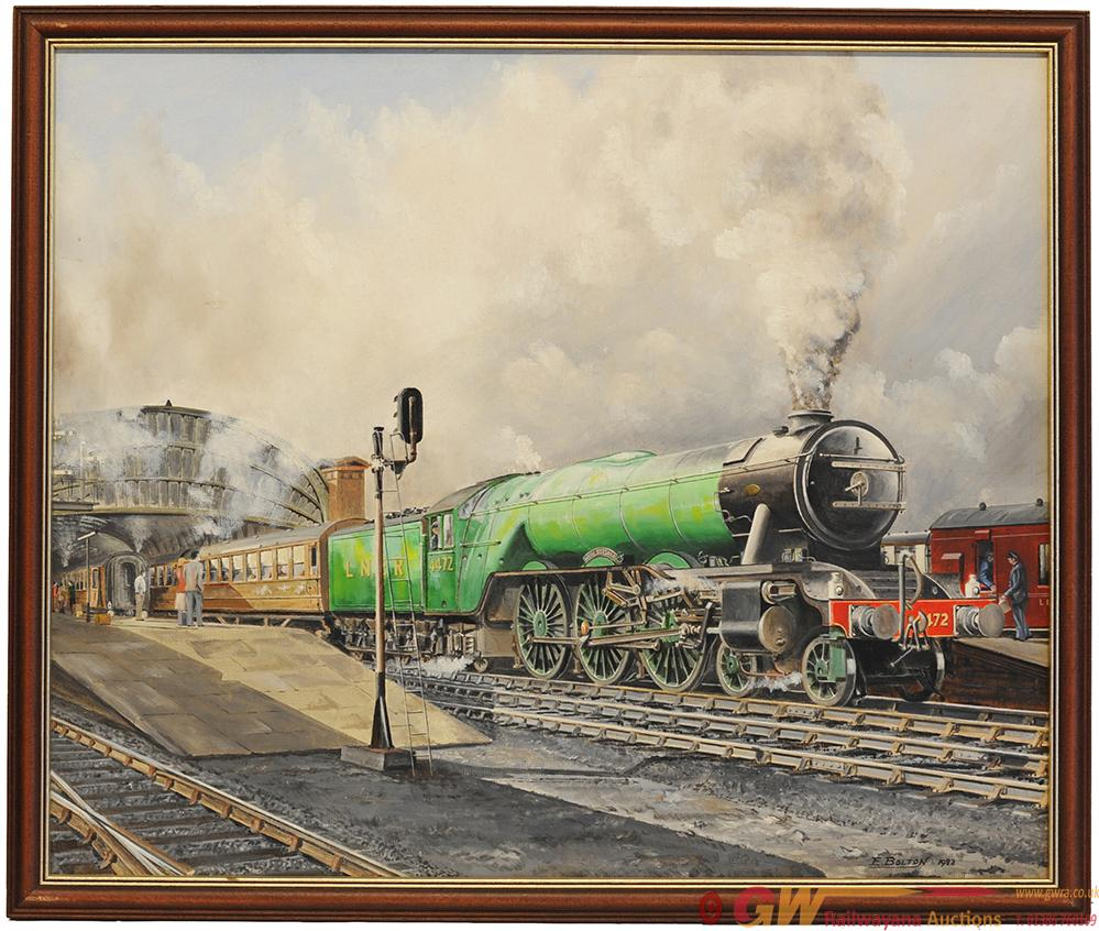 Original Oil Painting On Board Of 'Flying Scotsman