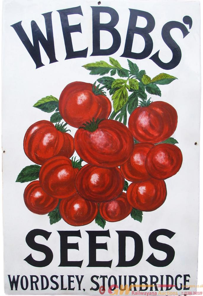 Advertising Enamel Sign WEBBS' SEEDS WORDSLEY
