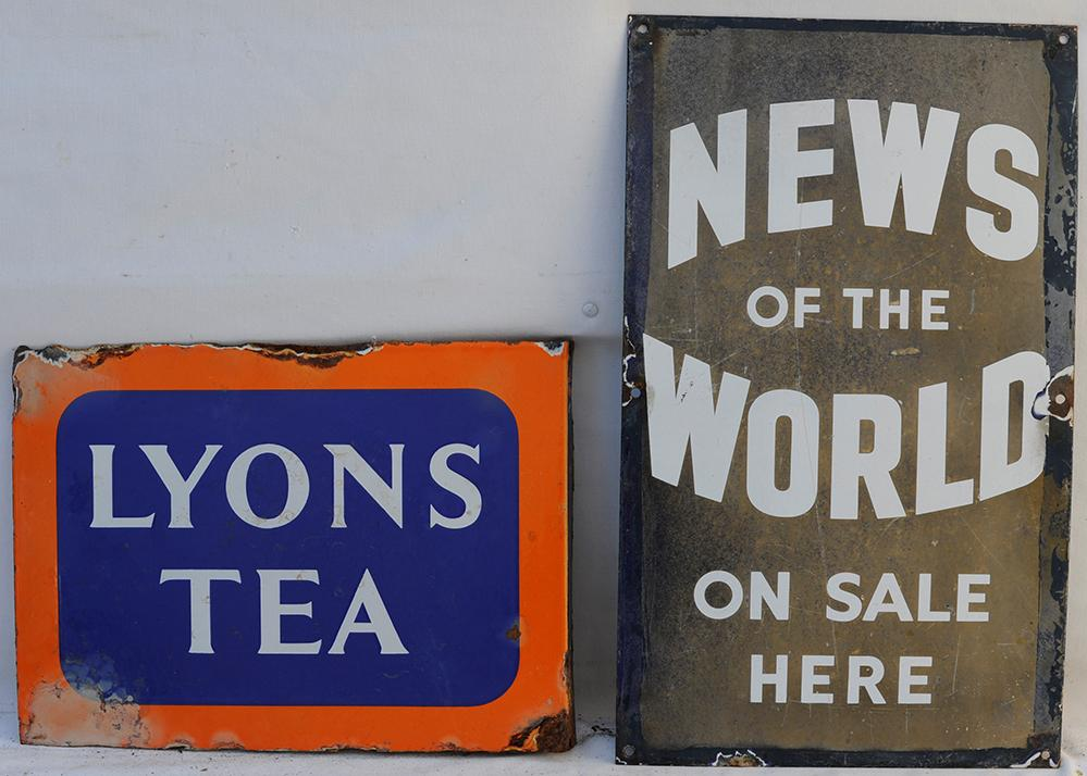 Two Enamel Advertising Signs. Lyons Tea And News