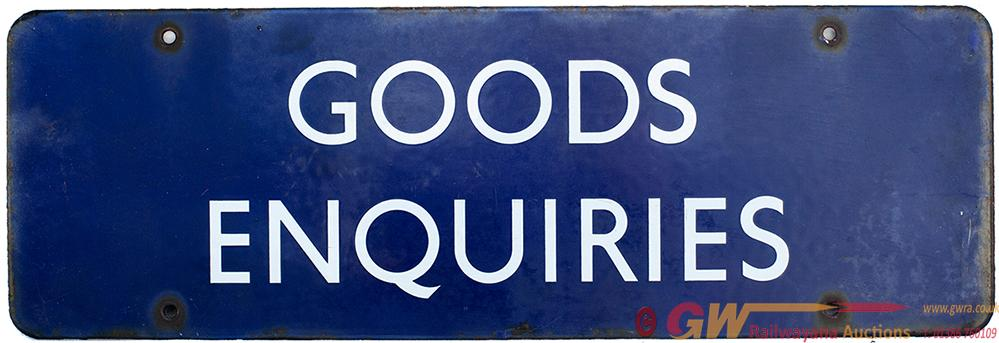 Enamel Doorplate BR(E) GOOODS ENQUIRIES Measuring