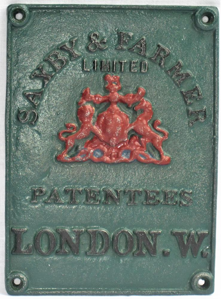 Saxby & Farmer Signal Maker's Plate As Used On The