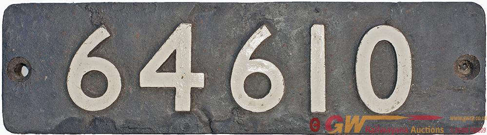Smokebox Numberplate 64610 Ex NBR Reid j37 0-6-0