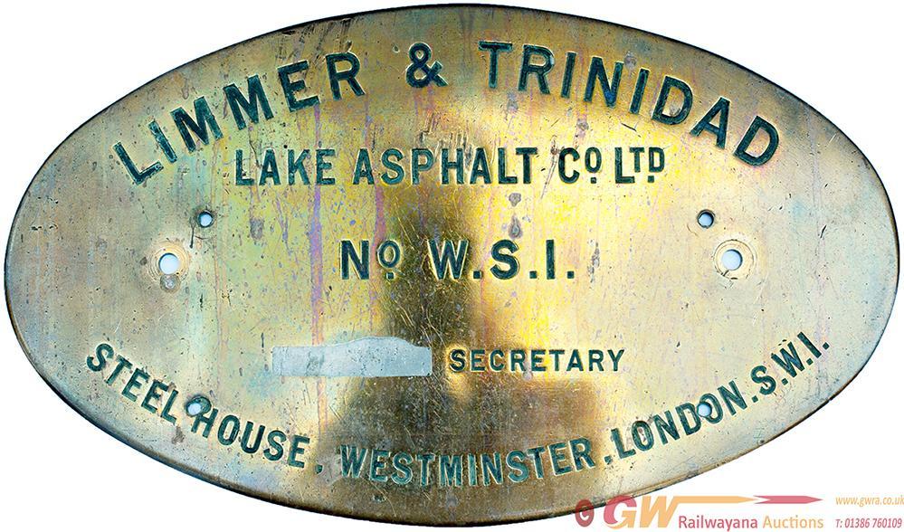 Steam Lorry Brass Oval Worksplate LIMMER &
