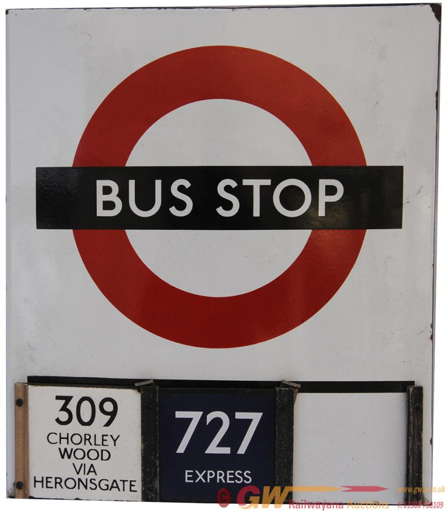 LT Double Sided Enamel Bus Stop Sign, Both Sides