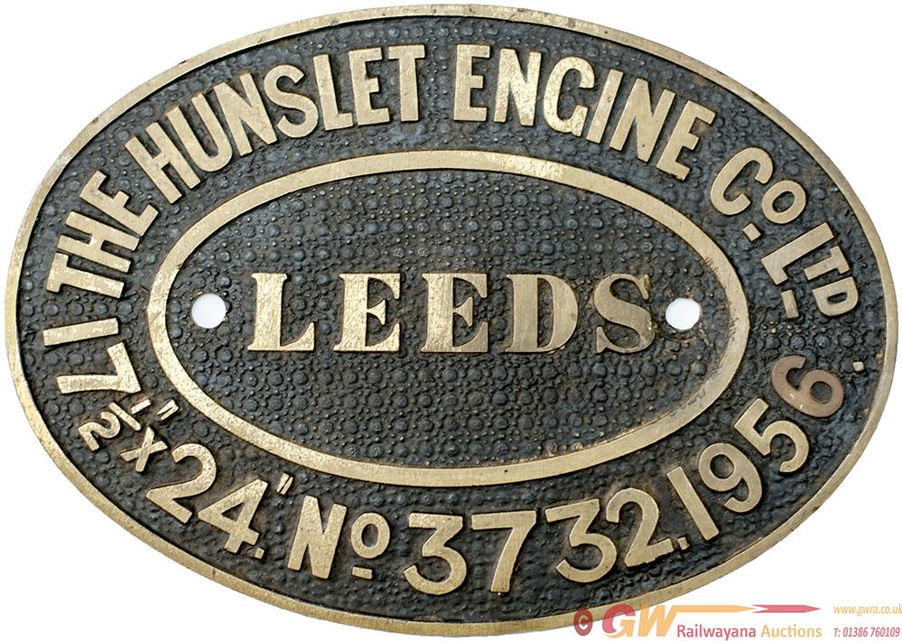 Worksplate THE HUNSLET ENGINE CO LTD LEEDS no3732