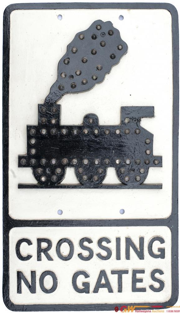 Motoring Road Sign Cast Aluminium CROSSING NO
