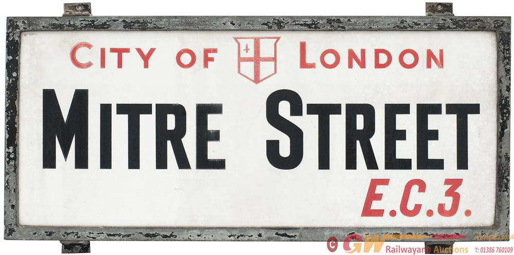 Motoring Road Street Sign CITY OF LONDON MITRE