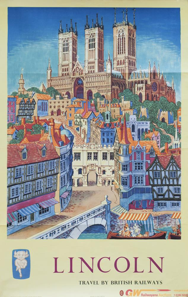 Poster BR LINCOLN TRAVEL BY BRITISH RAILWAYS By