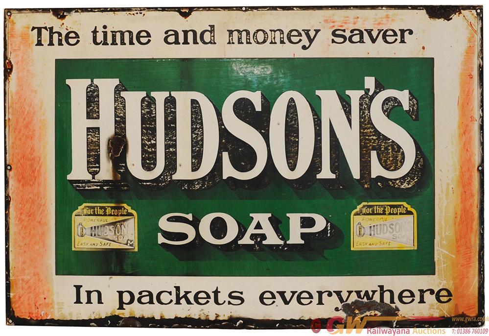 Advertising Enamel Sign 'Hudsons Soap - The Time