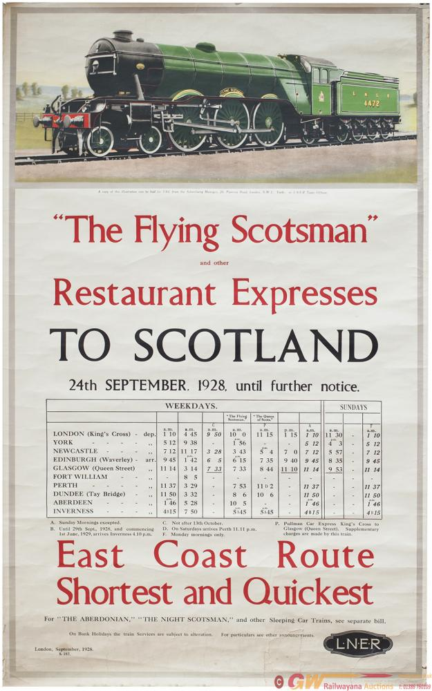 Poster LNER THE FLYING SCOTSMAN AND OTHER