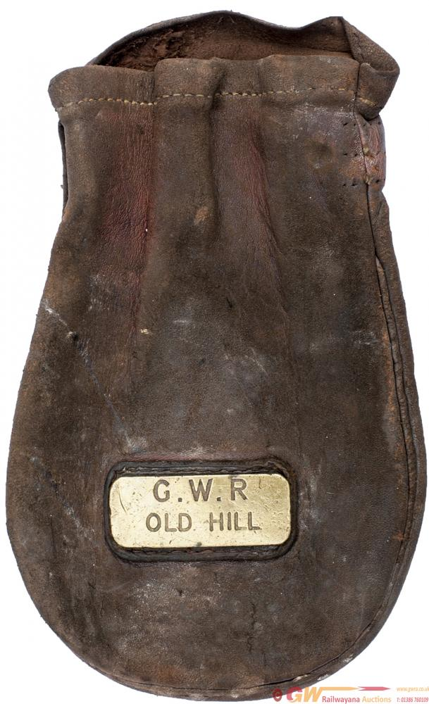 GWR Leather Cash Bag Brass Plated GWR OLD HILL. In