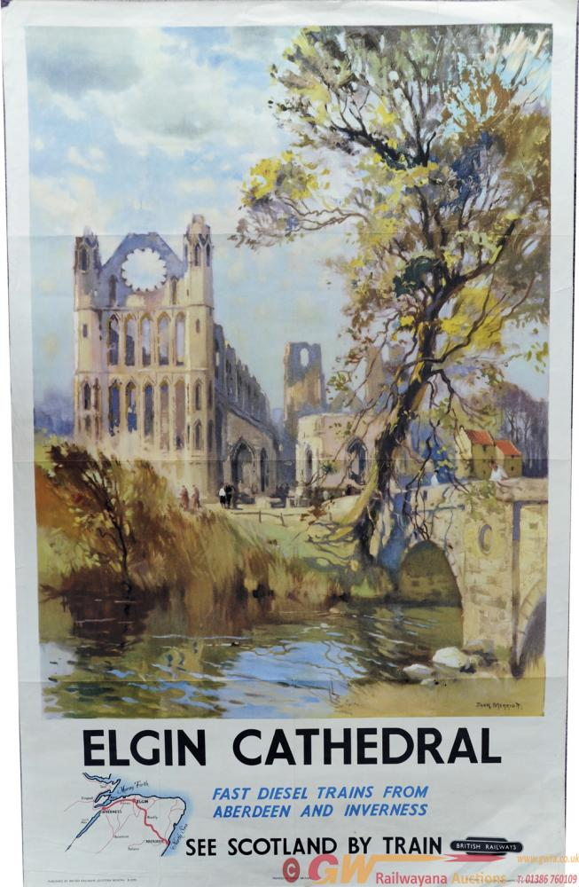 BR Poster 'Elgin Cathedral - Vast Diesel Trains