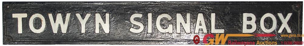 GWR Cast Iron Signal Box Board TOWYN SIGNAL BOX