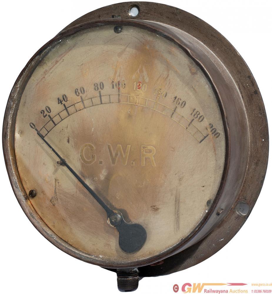 GWR Brass Locomotive Pressure Gauge Measuring 8in