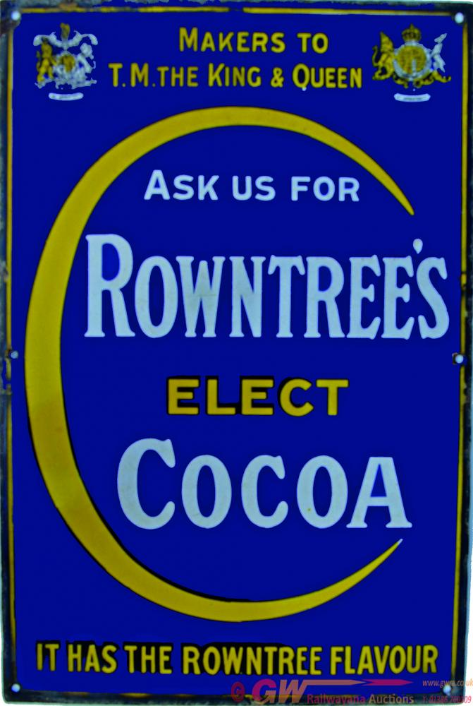 Enamel Advertising Sign Ask Us For Rowntrees Elect