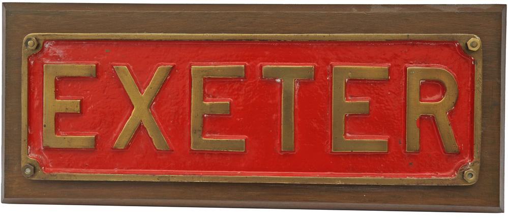 Industrial Nameplate EXETER. Mounted On A Wooden