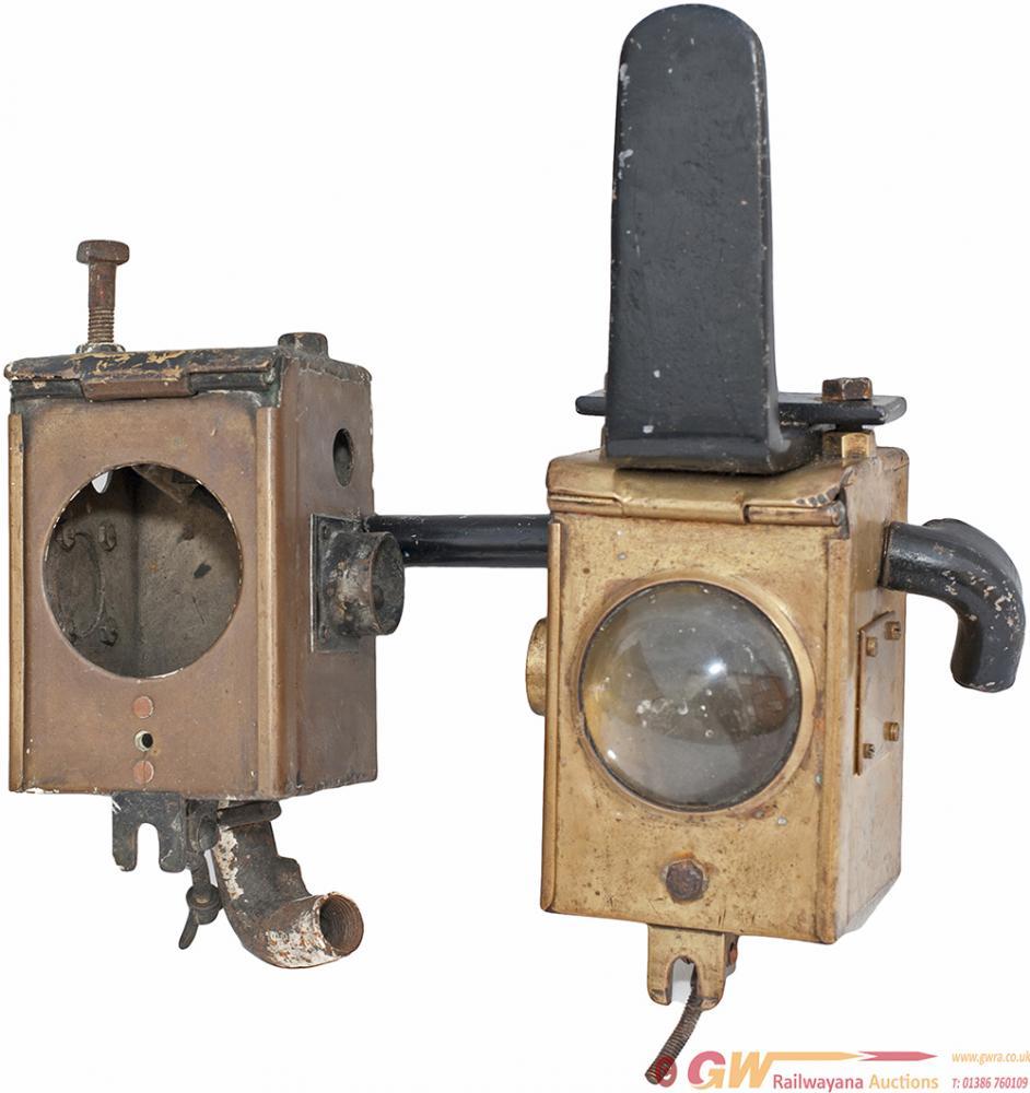 A Pair Of Bulleid Locomotive Brass Headlamps, One